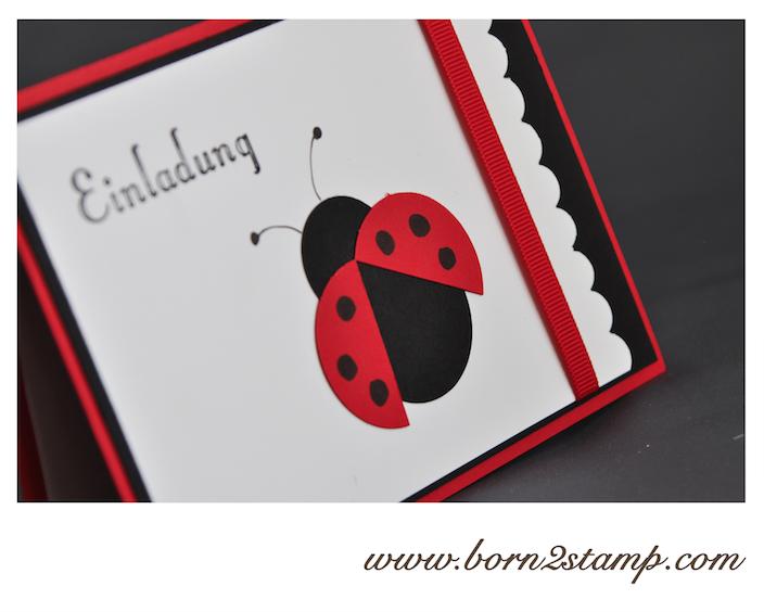 Kindergeburtstagseinladung Mit Marienkäfer / Lady Bug Invitation