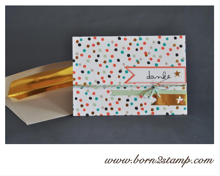 STAMPIN' UP! Dankeskarte mit Für Goldstücke SAB 2014
