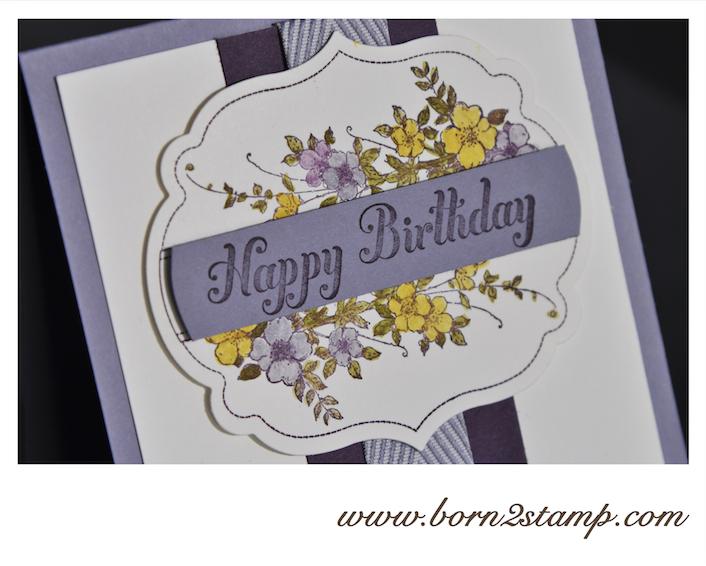 STAMPIN' UP! Geburtstagskarte mit Nostalgisch gerahmt und Bring on the Cake