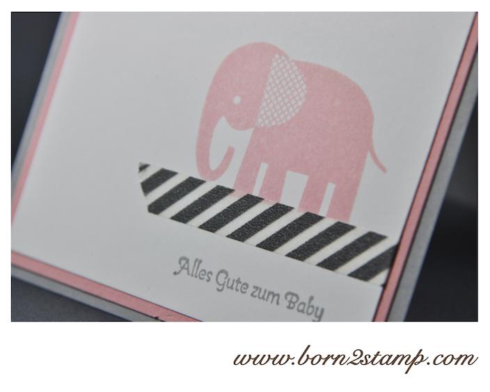 STAMPIN' UP! Babykarte mit Zoo Babies und Banner Blast und Stanze Banner und Kleine Wünsche