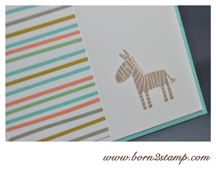 STAMPIN' UP! Babykarte mit Zoo Babies und Kleine Wünsche und DSP Süße Sorbets