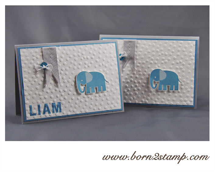 STAMPIN' UP! Babykarte mit Zoo Babies und Outline Alpha & Numbers und SAB 2014 Prägefolder Punktemeer