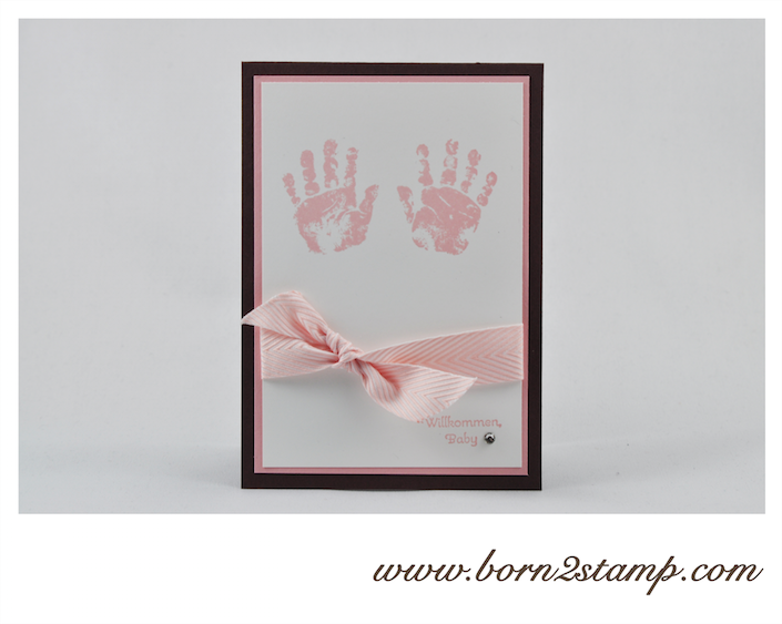 STAMPIN' UP! Babykarte mit Babyglück und Perfekte Pärchen und Fischgrätband