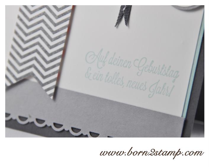STAMPIN' UP! Geburtstagskarte mit Dein Tag, DSP Meine Welt und Banner Framelits