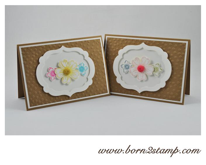 STAMPIN' UP! Karte mit Framelits Labels Collection und SAB Prägefolder Punkteregen und Petite Petal und Flower Shop und Dahlien InColor