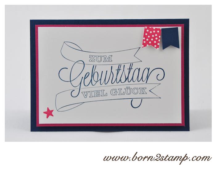 STAMPIN' UP! Geburtstagskarte mit Dein Tag! und Banner Blast und Stanze Fähnchen