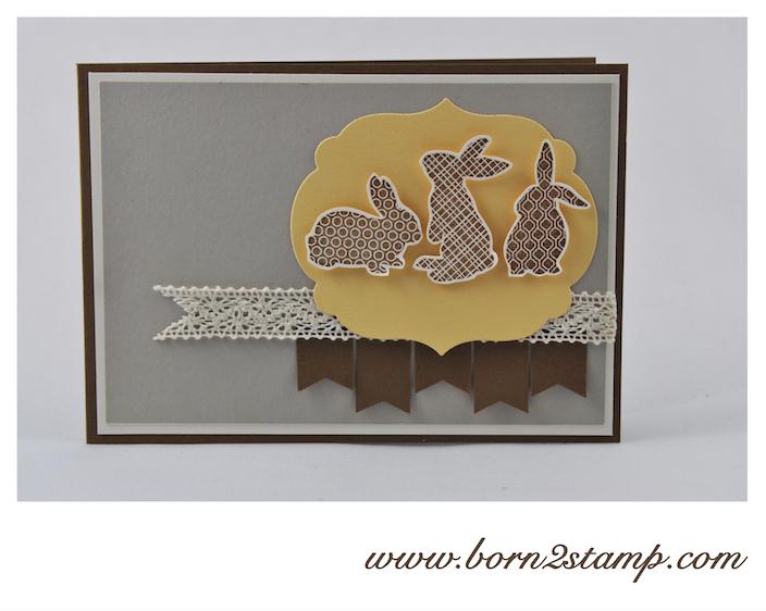 STAMPIN' UP! Osterkarte mit Ears to You und Häkelbordüre und Framelits Labels Collection
