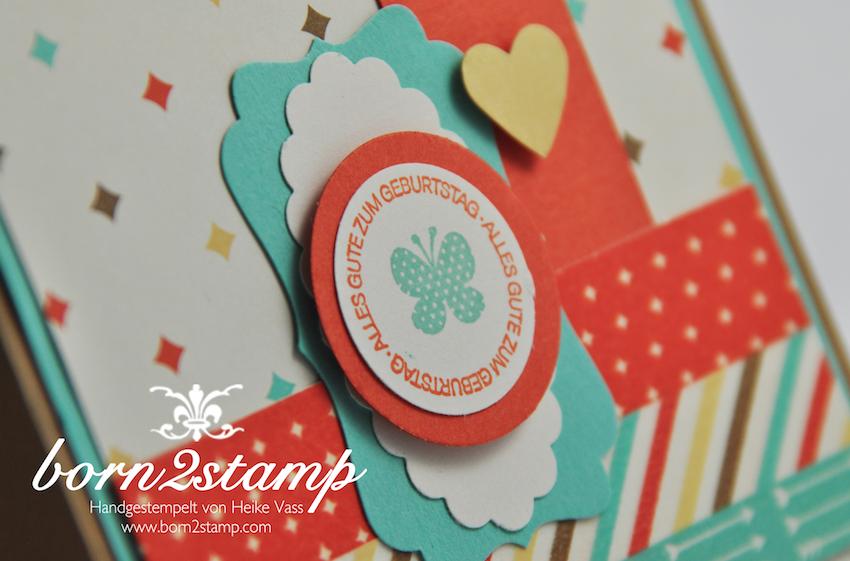 STAMPIN' UP! Geburtstagskarte mit DSP Retro-Spaß und Washi Retro-Spaß und Ein Gruß für alle Fälle