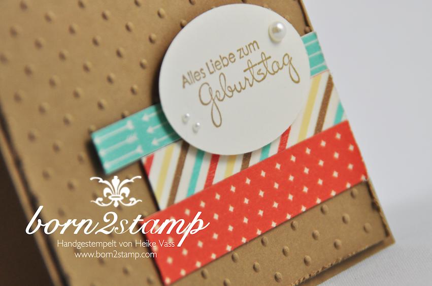 STAMPIN' UP! Geburtstagskarte mit Washi Retro-Spaß und Prägefolder Polka dots und Perfekte Pärchen