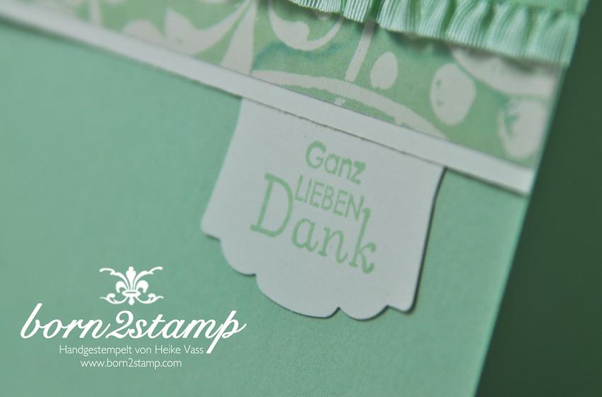 STAMPIN' UP! Dankeskarte mit DSP Venezianische Träume und Stanze Designeretikett und Perfekte Pärchen
