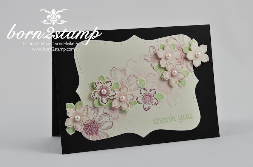 STAMPIN' UP! Dankeskarte mit Flower Shop und Petite Petals und Happy Watercolor