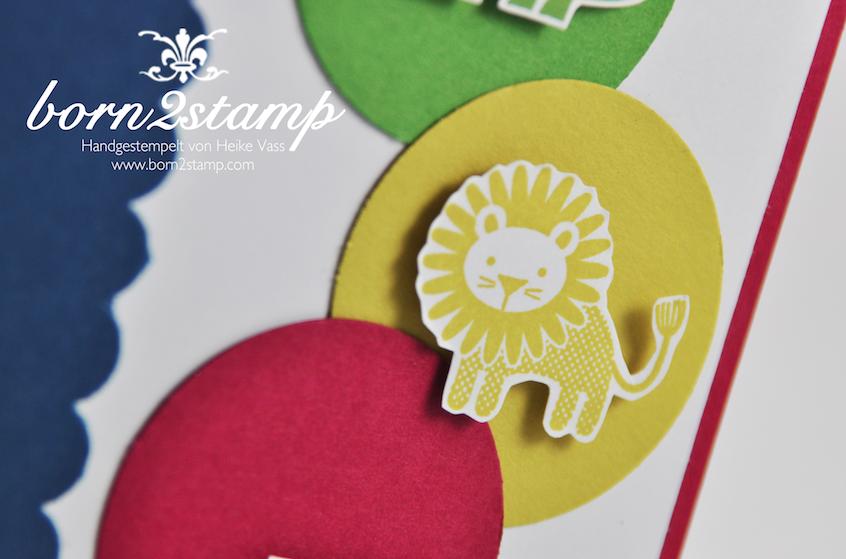 STAMPIN' UP! Karte mit Fahnengruß und Zoo Babies und Wellenkante Stanze