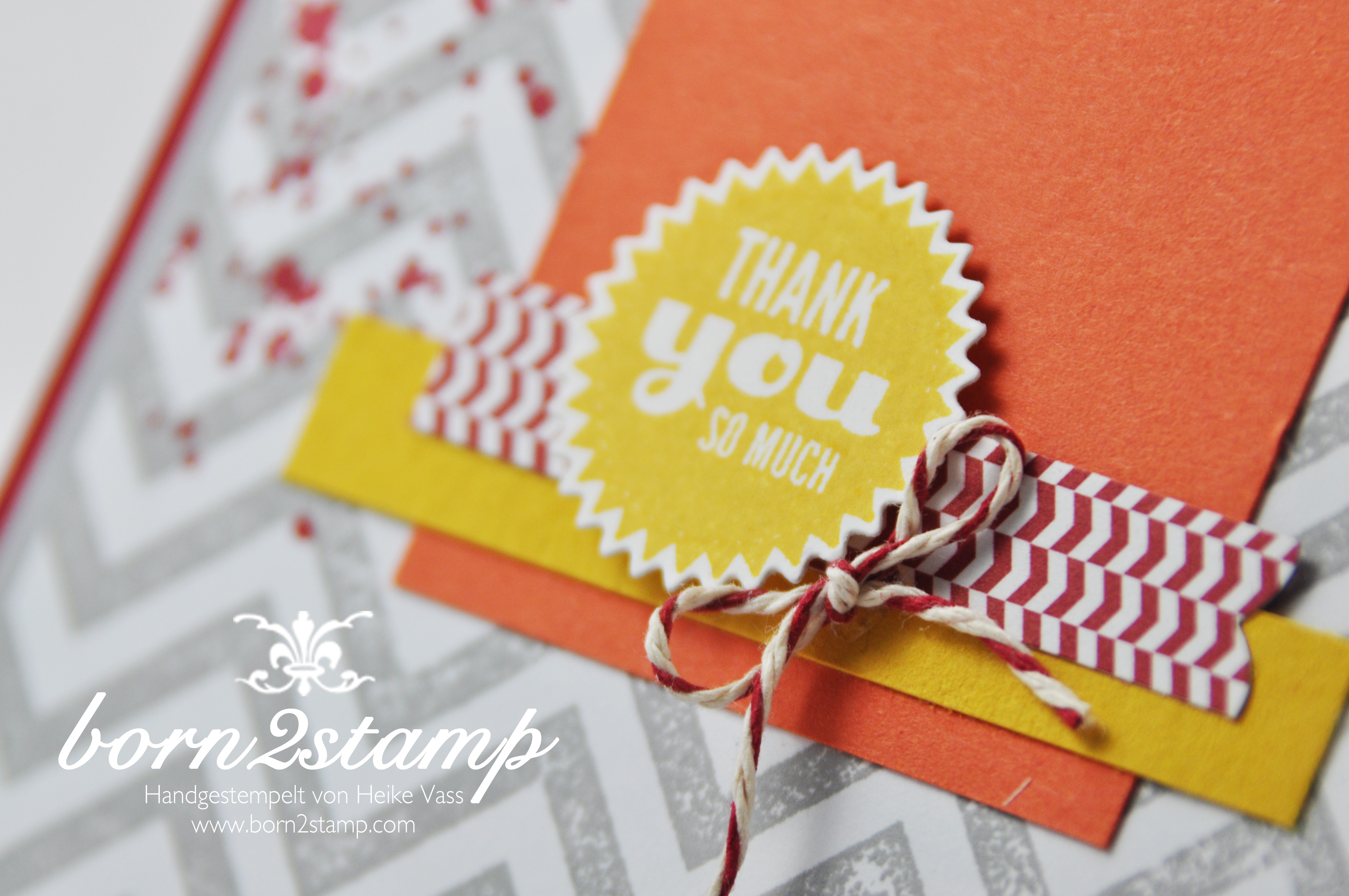 STAMPIN' UP! Karte mit Gorgeous Grunge und Starburst Sayings und Starburst Framelits und Positively Chevron 3