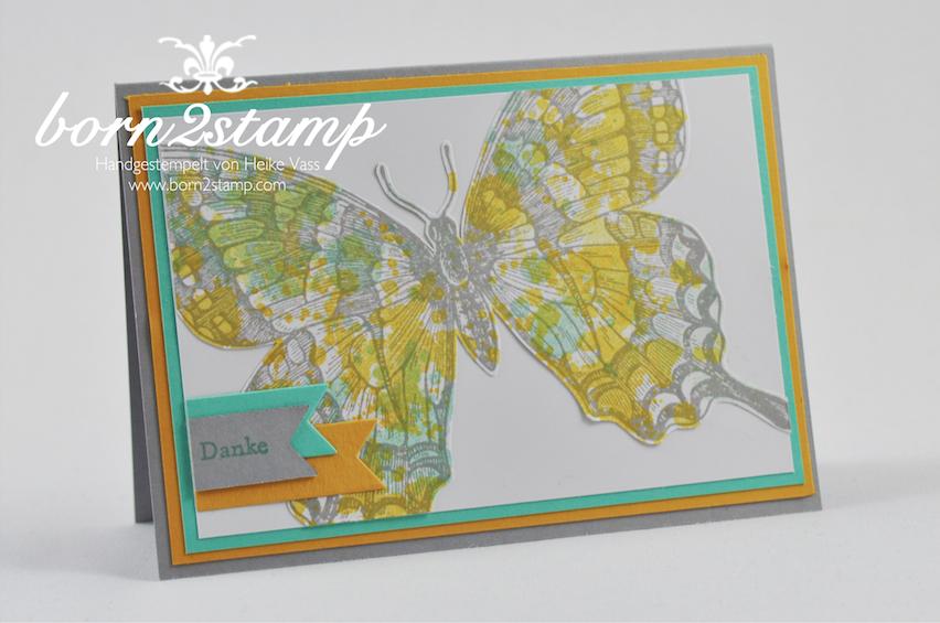 STAMPIN' UP! Karte mit Swallowtail und Gorgeous Grunge und Kleine Wünsche und Banners Framelits