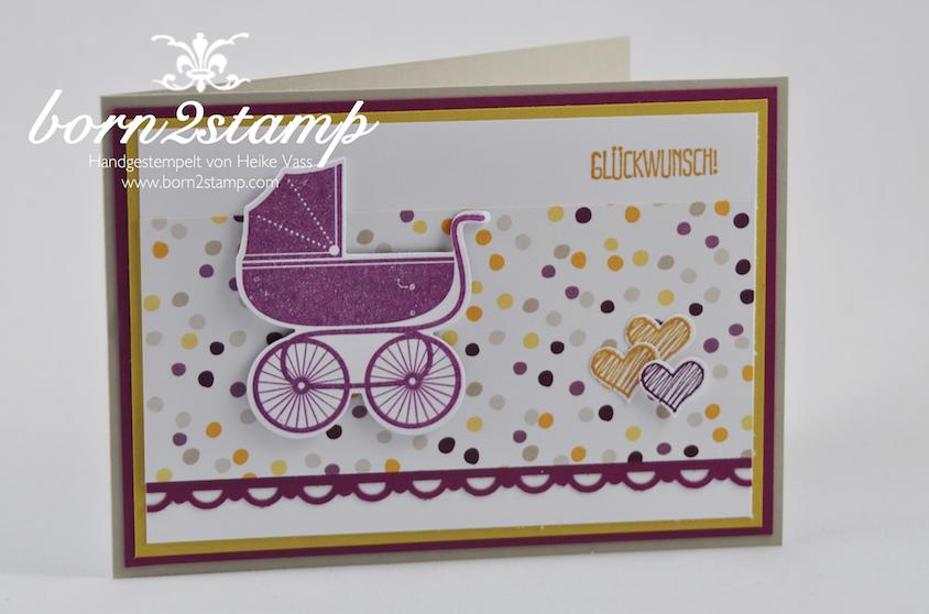 STAMPIN' UP! Babykarte mit Something for Baby und Framelits Fürs Baby und Spruch-reif und DSP Mondschein und InColor 2014-2016