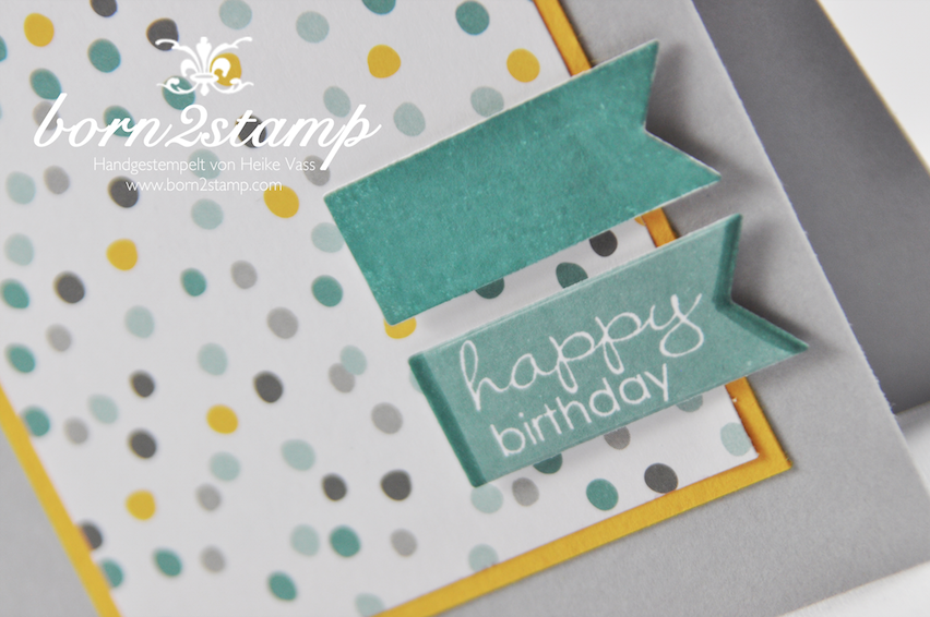 STAMPIN' UP! Karte mit Banner Greetings und DSP Mondschein
