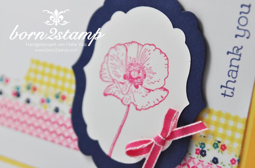 STAMPIN' UP! Karte mit Washi Gartenparty und Happy Watercolor und Framelits Label Collection