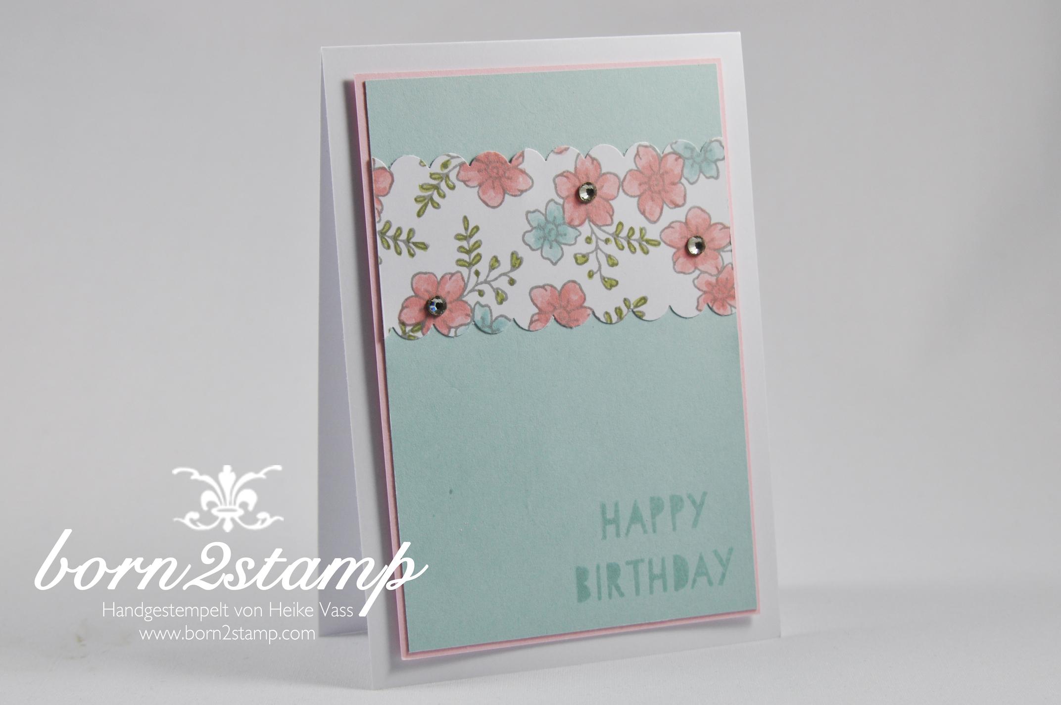 STAMPIN' UP! Geburtstagskarte Age Awareness I like you Wellenkantestanze