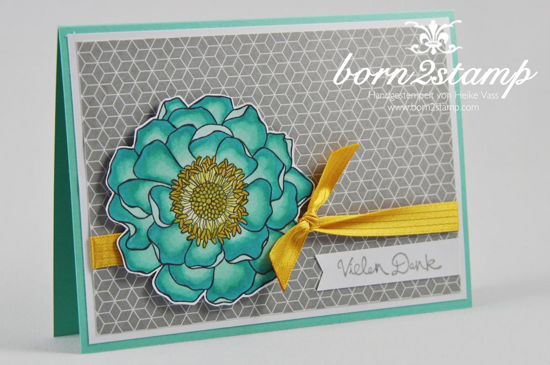 STAMPIN' UP! Dankeskarte Blended Bloom Gesammelte Grüße Fähnchenstanze