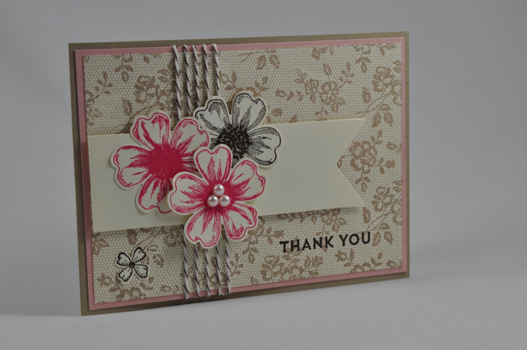 STAMPIN' UP! Dankeskarte I love lace Celebrate Baby Flower Shop Spruch-reif