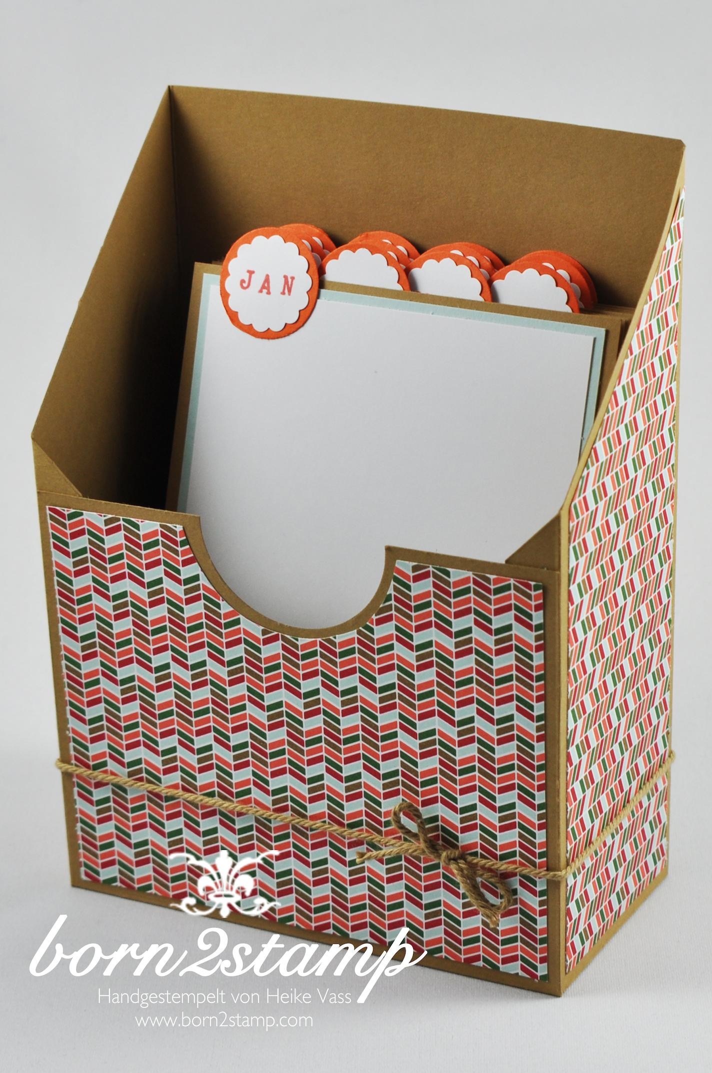STAMPIN' UP! Geburtstagskartenbox DSP Nordische Weihnacht Kreisstanze Wellenkreisstanze dicke Kordel