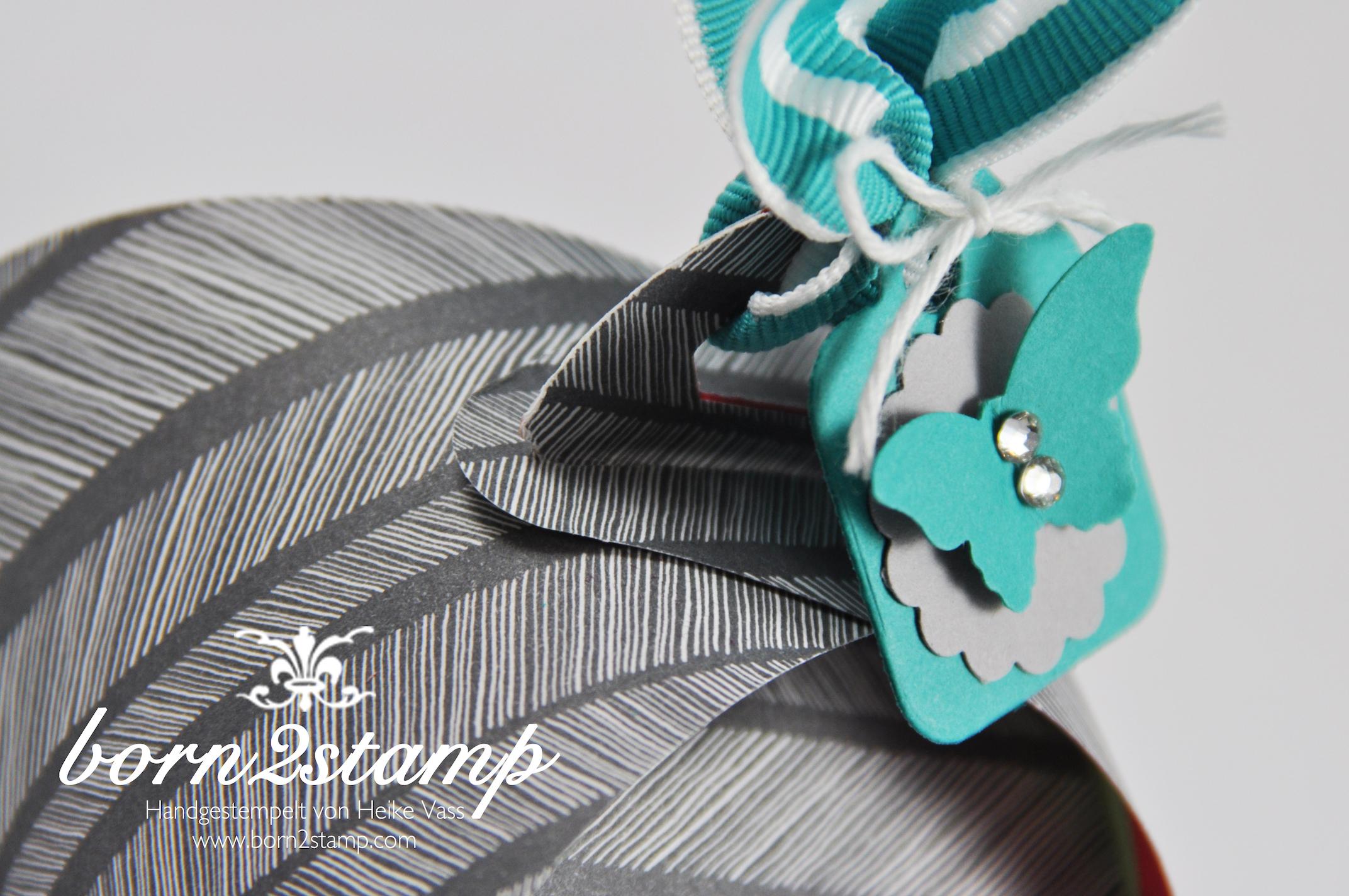 STAMPIN' UP! Verpackung Thinlits Curvy Keepsakes Box Zierschachtel Big Shot DSP Konfetti-Party Stanze Mini-Schmetterling Wellenkreis Kordel Gestreiftes geripptes Geschenkband