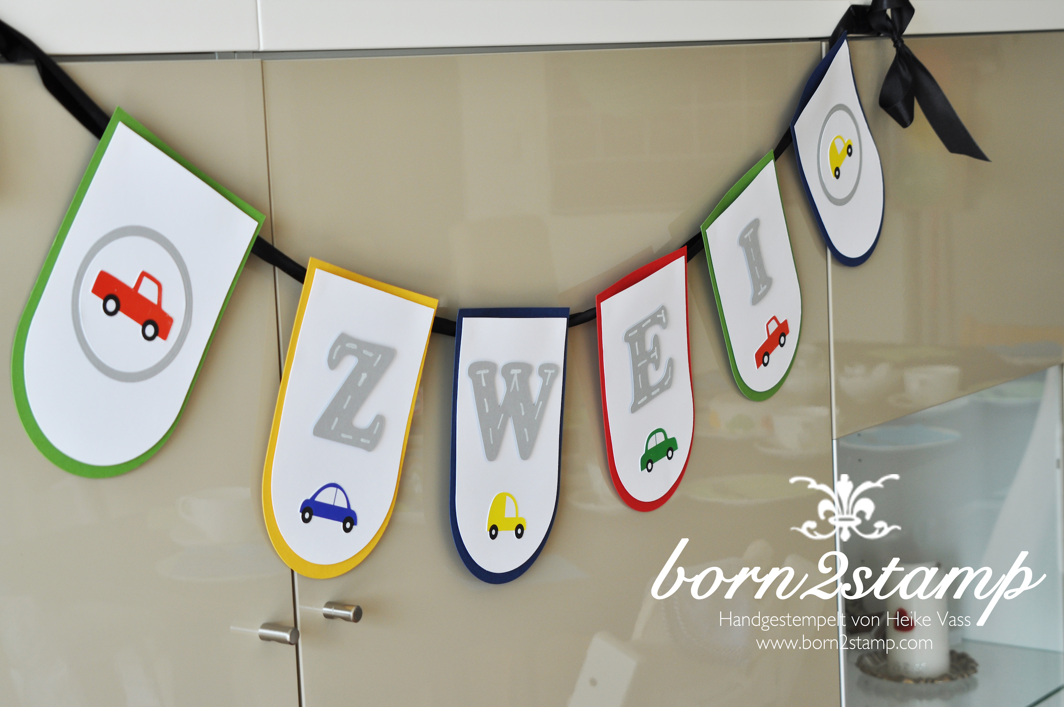 STAMPIN' UP! Geburtstagsgirlande birthday banner Autoparty car themed party