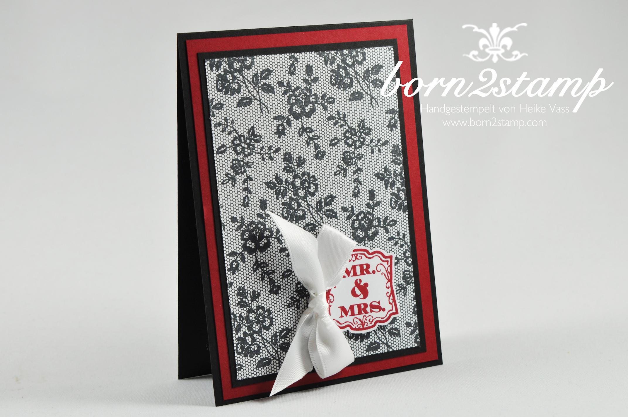 STAMPIN' UP! born2stamp Hochzeitskarte I love lace Label love