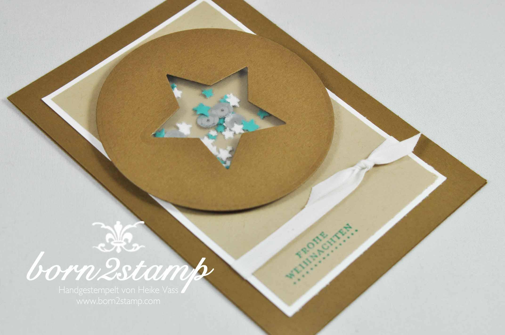 STAMPIN' UP! born2stamp Weihnachtskarte Kleine Wuensche Sternenkonfetti Pailletten Eisglitzer Framelits Stern-Kollektion Kreis-Kollektion Baumwollband