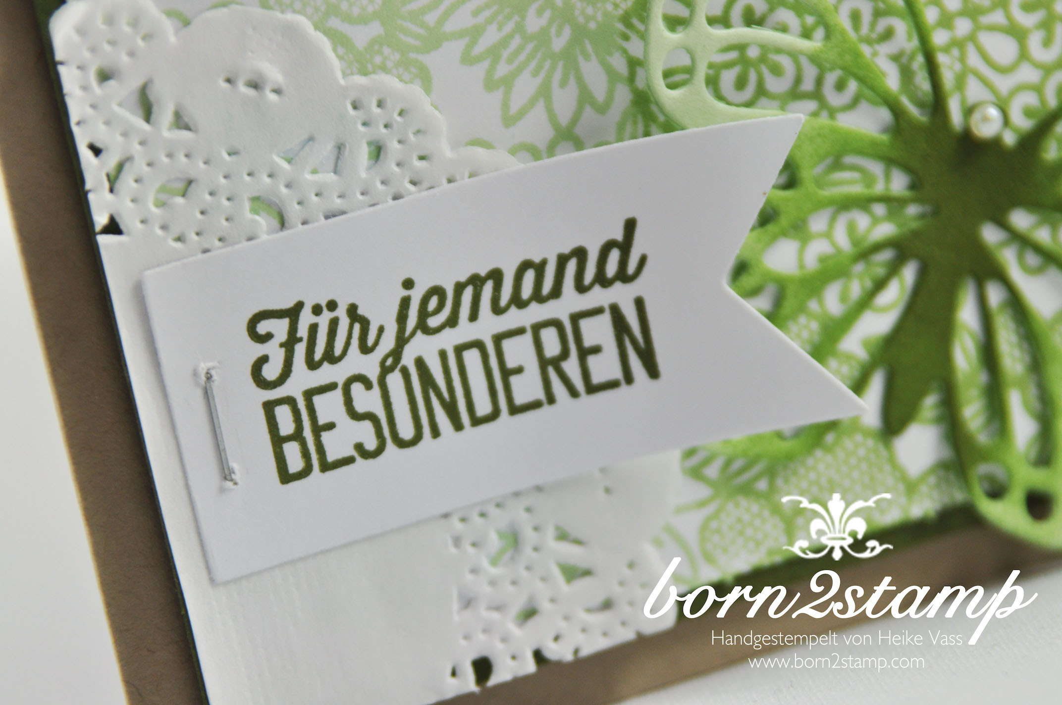 STAMPIN' UP! born2stamp Geburtstagskarte Something Lacy Butterfly Thinlits Wie Du bist Banner Framelits Tacker Spitzendeckchen