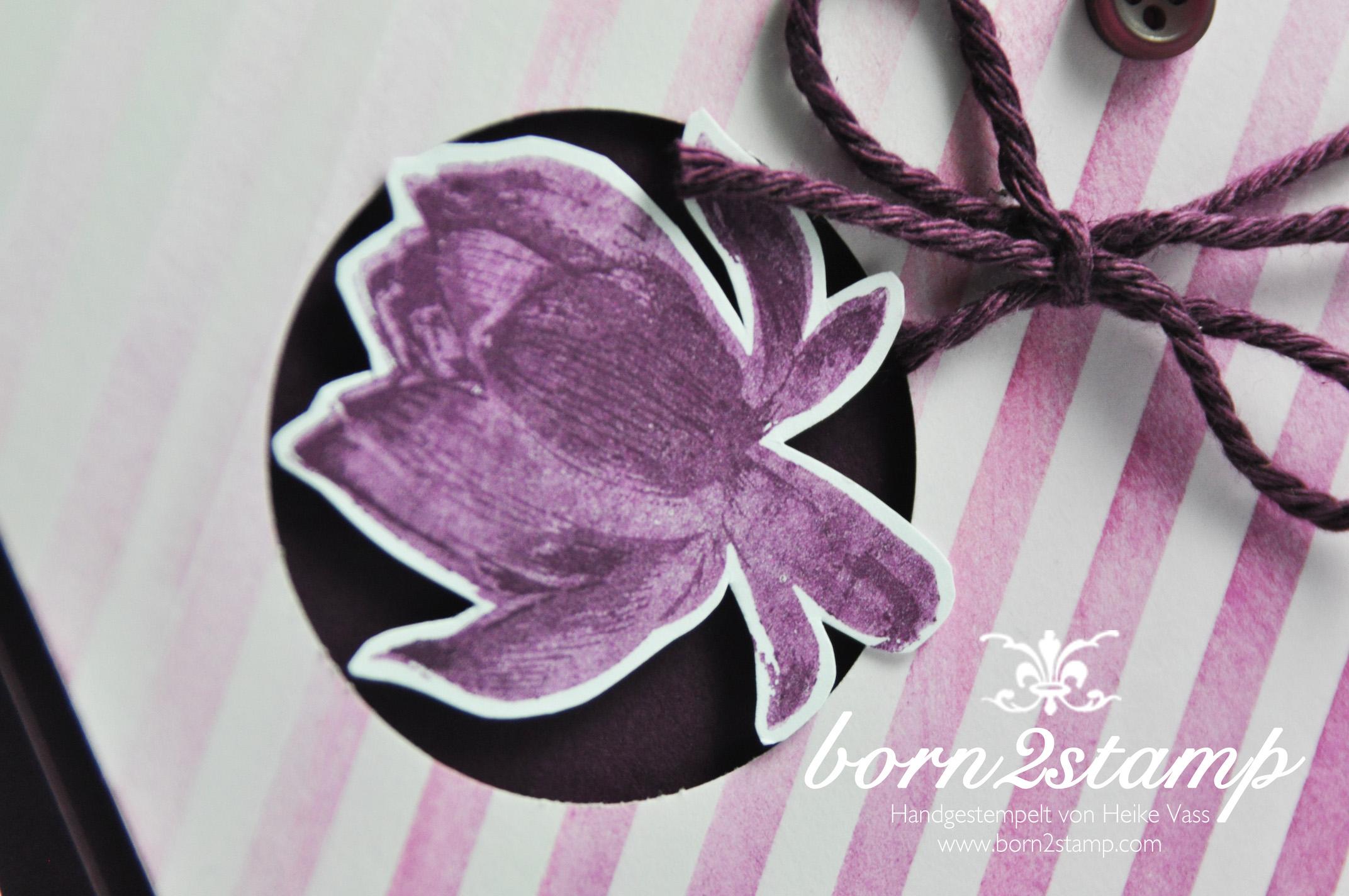 STAMPIN' UP! born2stamp – Sale a bration – SAB – DSP Zauberhaft – Lotus blossom – So froh – InColor Accessoire – Faehnchenstanze