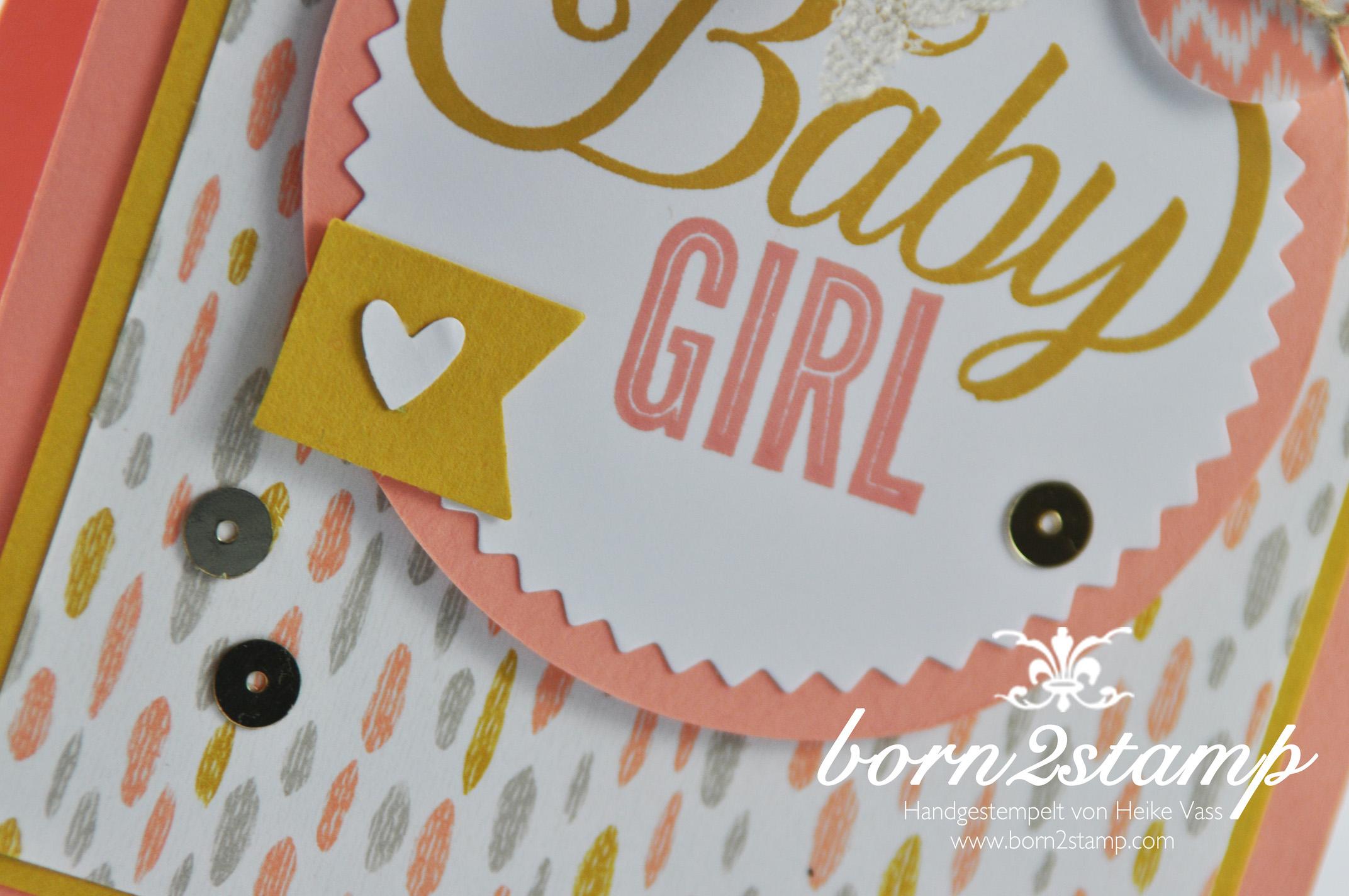 STAMPIN' UP! born2stamp Babykarte – Celebrate Baby – Faehnchenstanze – Starburst Framelits – Spitzenband – DSP Suesse Traeume – Knoepfe Suesse Traume