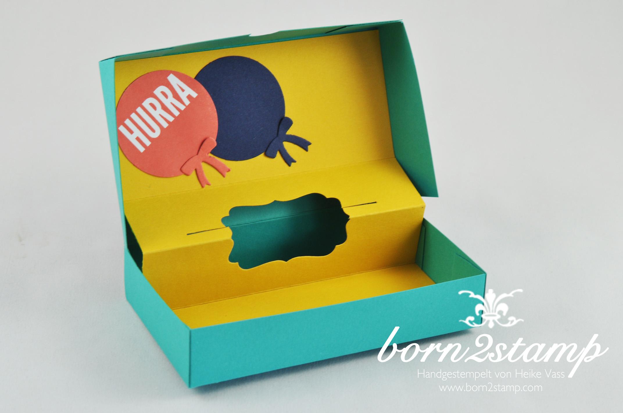 STAMPIN' UP! born2stamp Box DSP Geburtstagsparty – Fischgraetband – Faehnchenstanze – Wir feiern