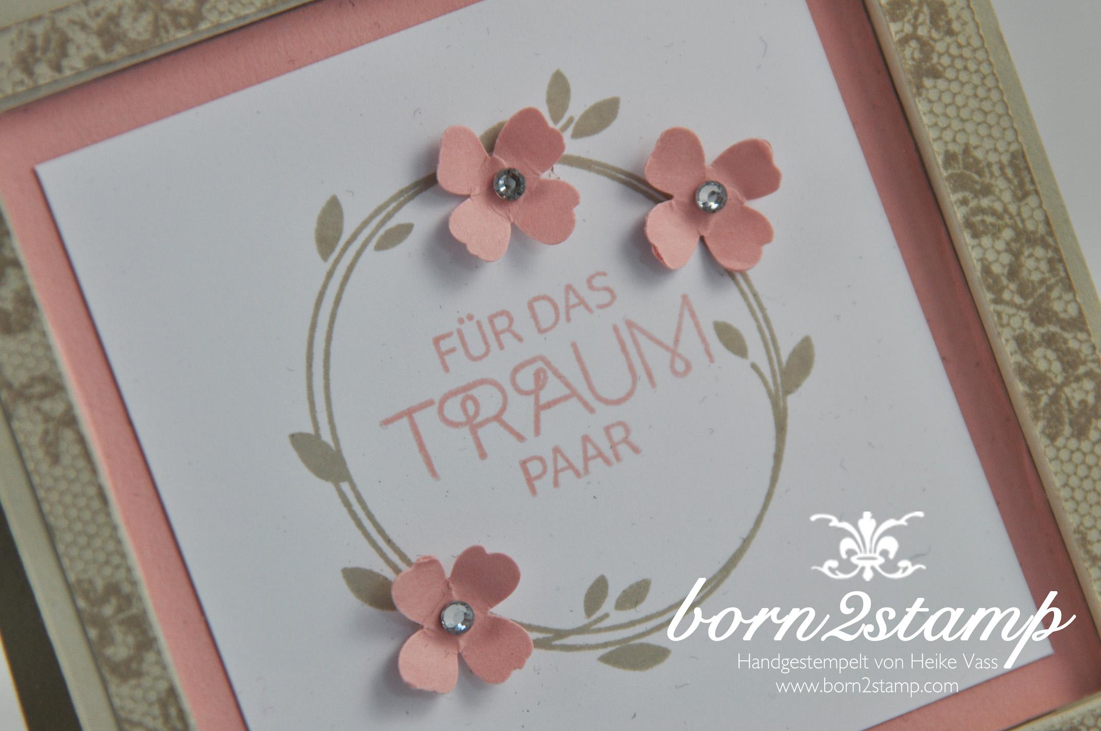 STAMPIN' UP! born2stamp Hochzeitskarte – I love lace – Perfekter Tag – Itty bitty Akzente – Strassschmuck – recessed window card