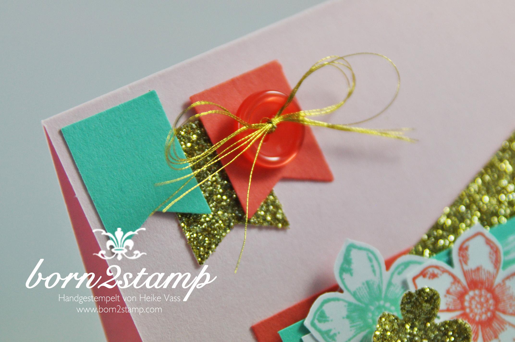 STAMPIN' UP! born2stamp IN{K}SPIRE_me Dankeskarte – Petal Potpourri – Flower Shop – Petite Petals – Perfekte Paerchen – Gold Metallic Thread