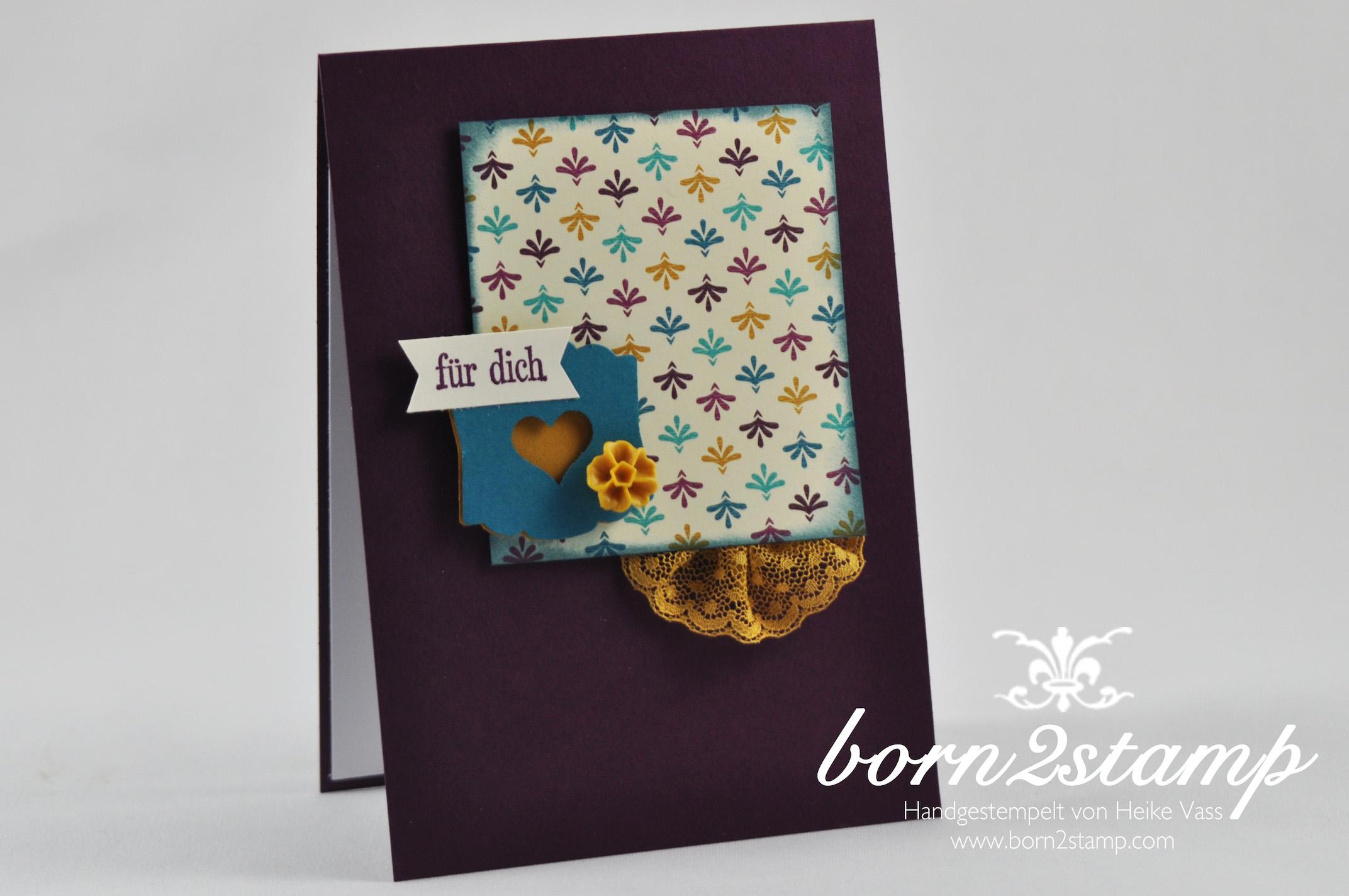 STAMPIN' UP! born2stamp Karte DSP Boheme – Puenktchen-Spitzenband – Geburtstagsgruesse für alle – Itty bitty Akzente – Designeretikett – Faehnchenstanze