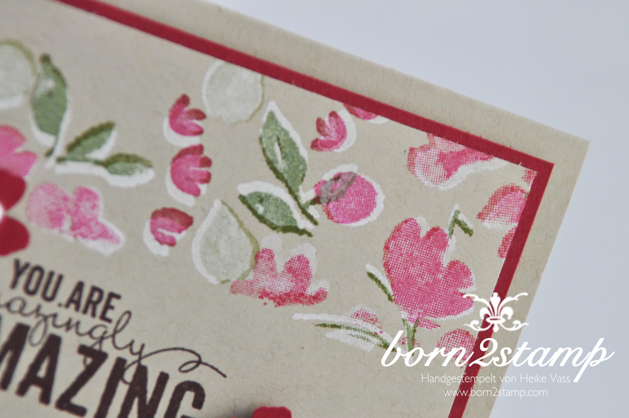 STAMPIN' UP! born2stamp Karte Painted Petals – Itty bitty Akzente – Perlenschmuck – weiß