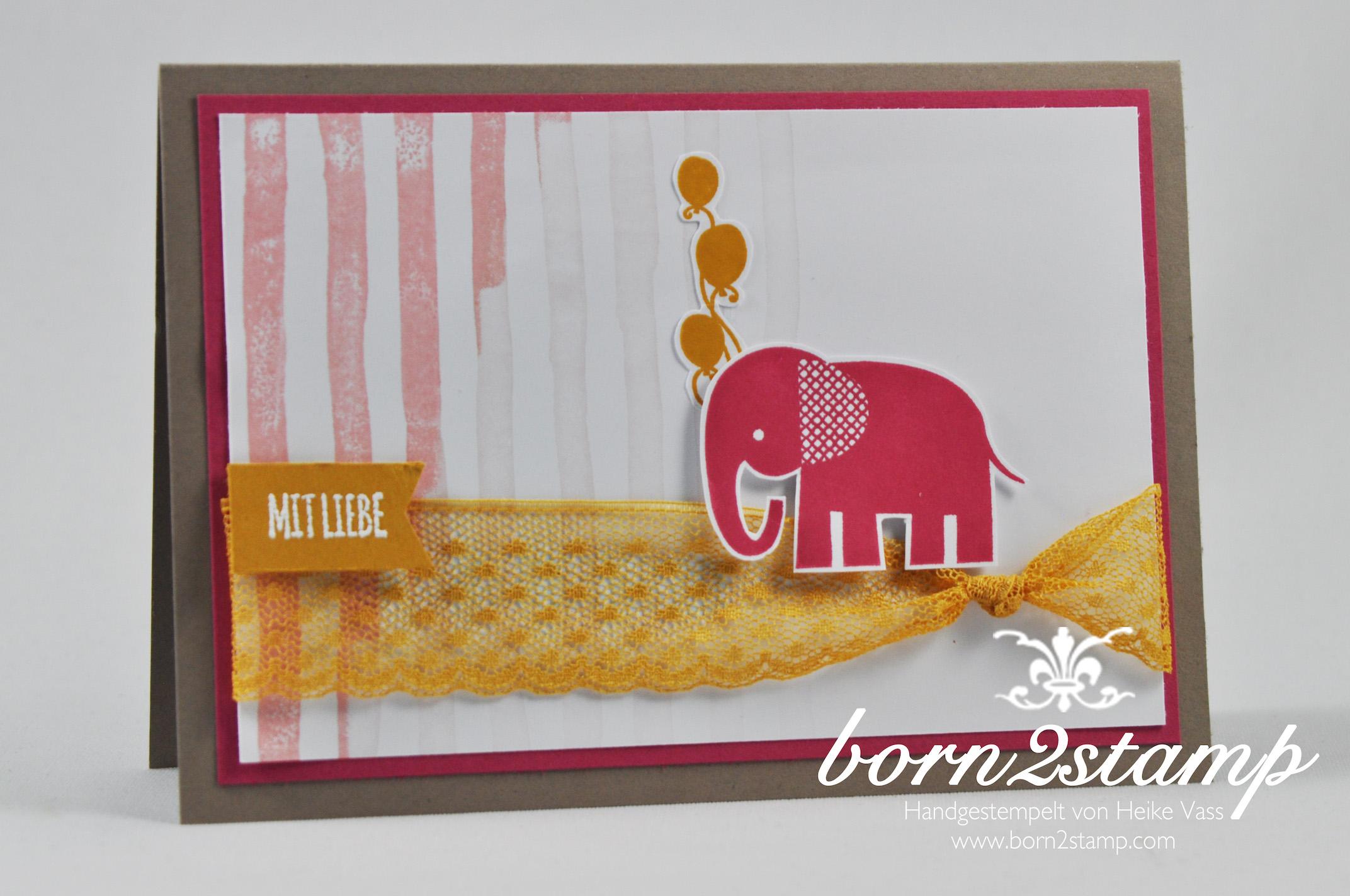 STAMPIN' UP! born2stamp Babykarte – Mit Liebe geschenkt – Brushstrokes – Pretty thankful – Zoo Babies Puenktchen-Spitzenband
