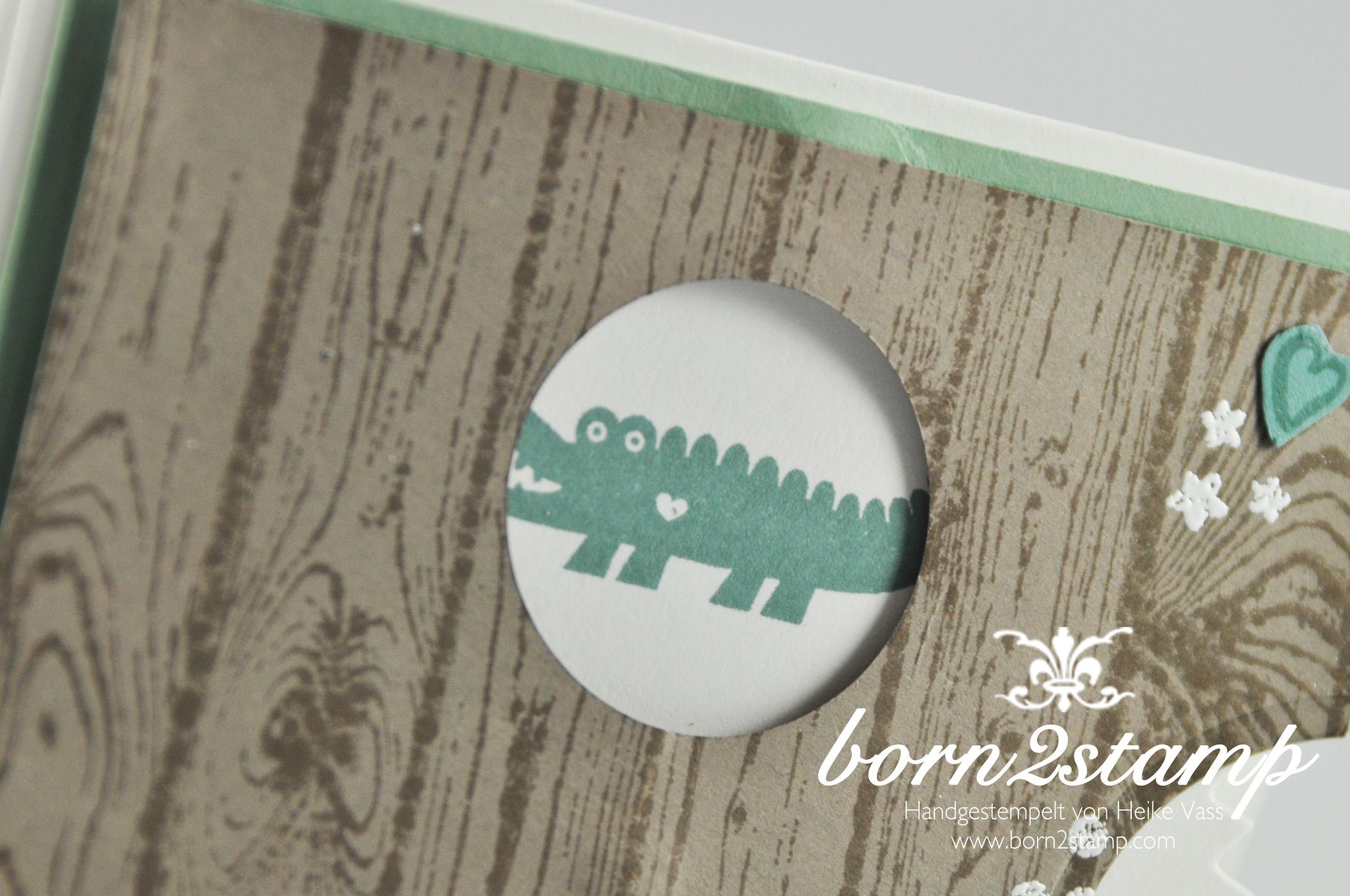 STAMPIN' UP! born2stamp Babykarte – Zoo Babies – Zum Nachwuchs – Grußelemente – Hardwood