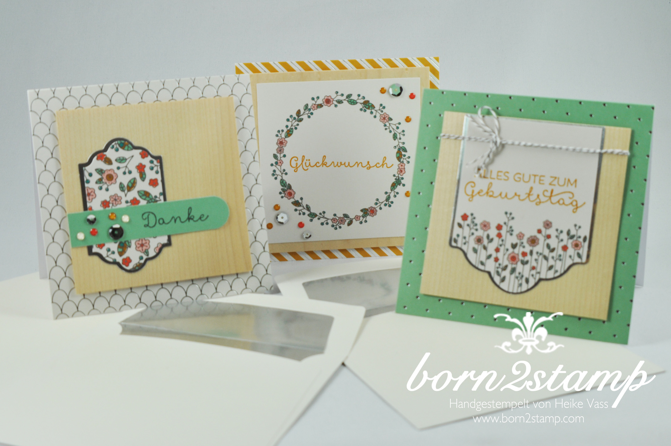 STAMPIN' UP! born2stamp Dankeskarte – Geburtstagskarte – Kartenset Landlust – Cottage Greetings