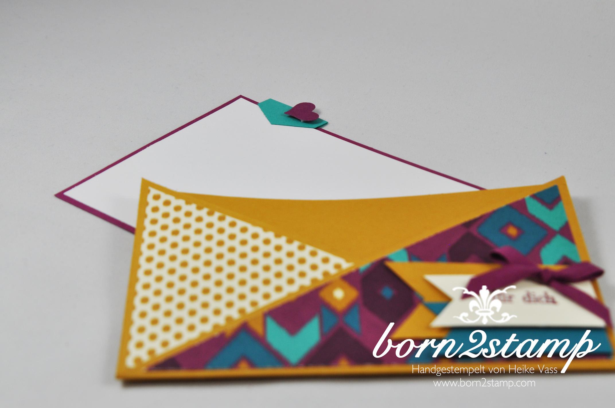 STAMPIN' UP! born2stamp Geburtstagskarte – DSP Boheme – Faehnchenstanze