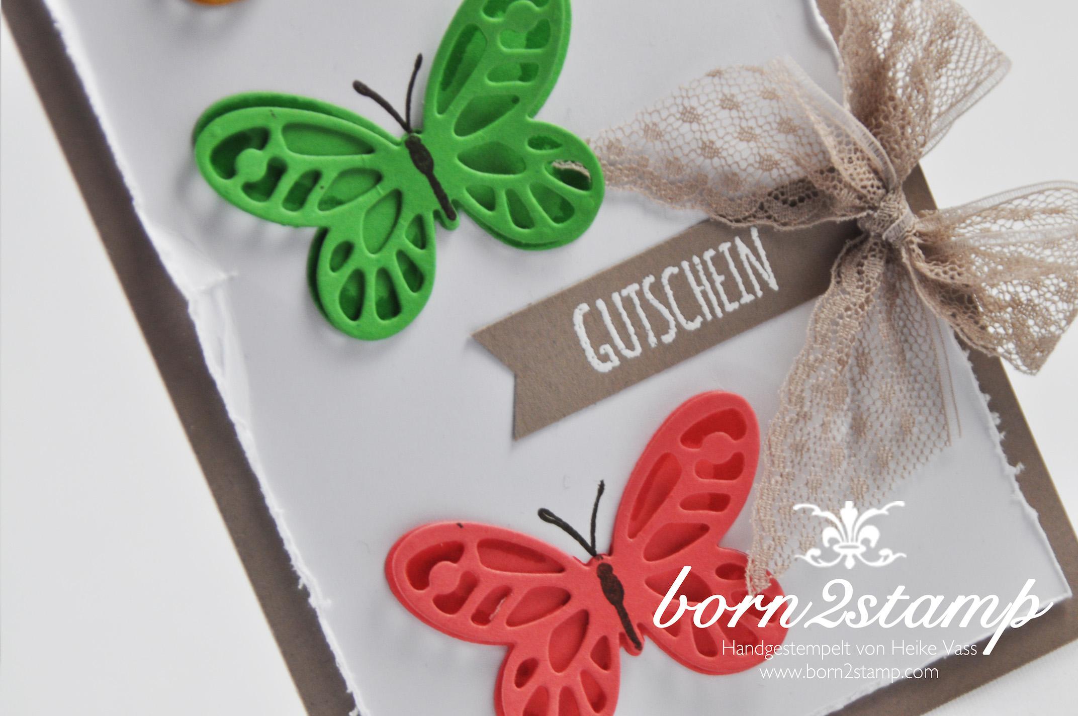 STAMPIN' UP! born2stamp Gutschein – Watercolor wings – Butterfies Thinlits – Bold Butterfly Framelits – Mit Liebe geschenkt – Puenktchen-Spitzenband