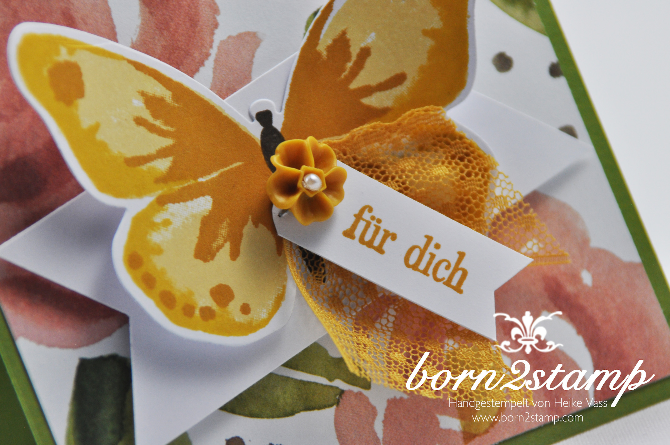 STAMPIN' UP! born2stamp Karte – DSP Englischer Garten – Watercolor Wings – Geburtstagsgruesse fuer dich – Framelits Bold Butterfly – Puenktchen-Spitzenband – InColor Accessoires