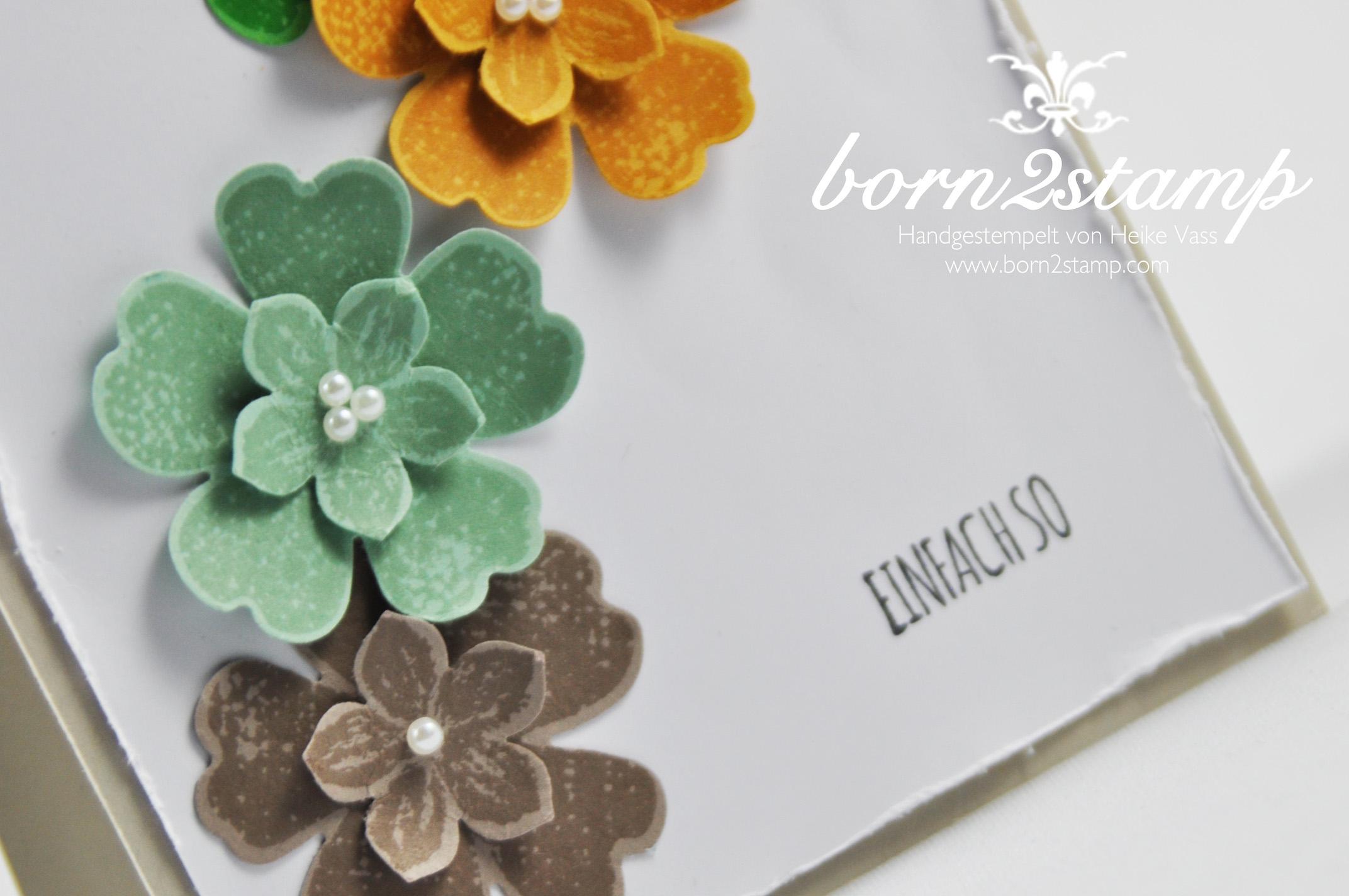 STAMPIN' UP! born2stamp Karte – Petite Petals – Stanze Kleine Bluete – Flower Shop – Stanze Stiefmuetterchen – Mit Liebe geschenkt