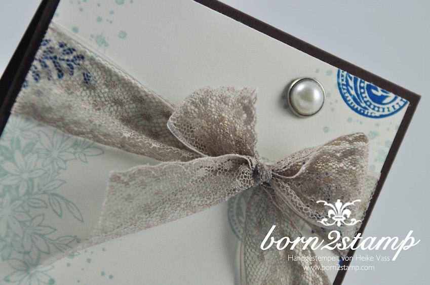 STAMPIN' UP! born2stamp Geburtstagskarte – Awesomely Artistic – Grußelemente – Perlen mit Metallrand – Puenktchen-Spitzenband