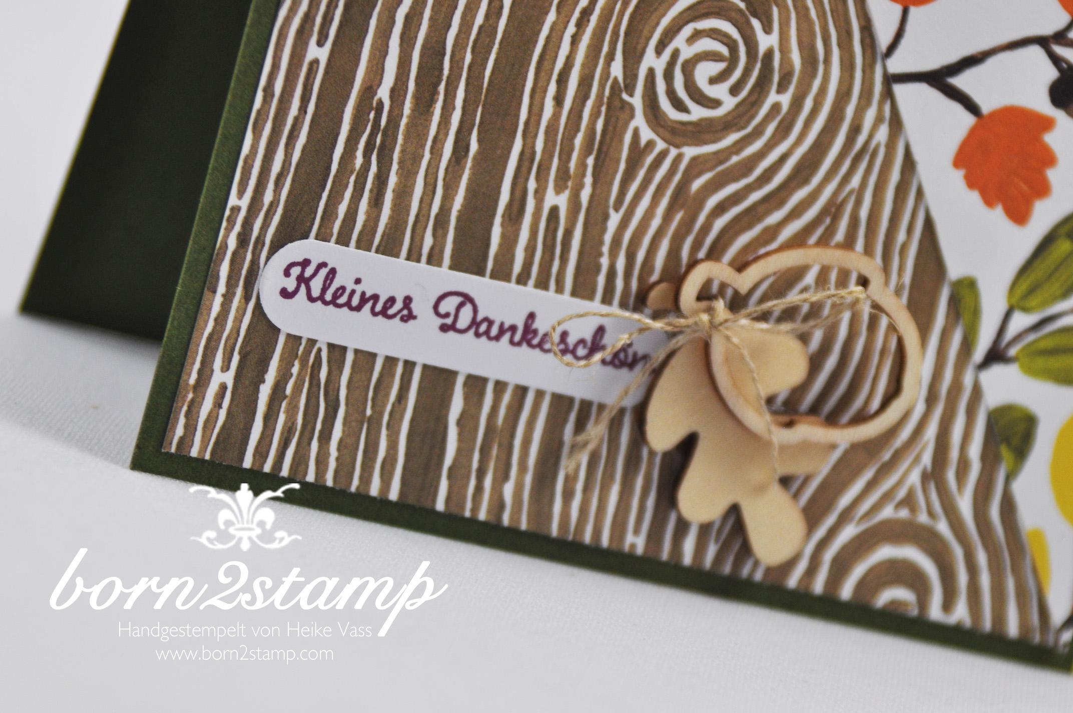 STAMPIN' UP! born2stamp Herbstkarte – DSP Am Waldrand – Vintage leaves – Leaflets Framelits – Von großer Bedeutung