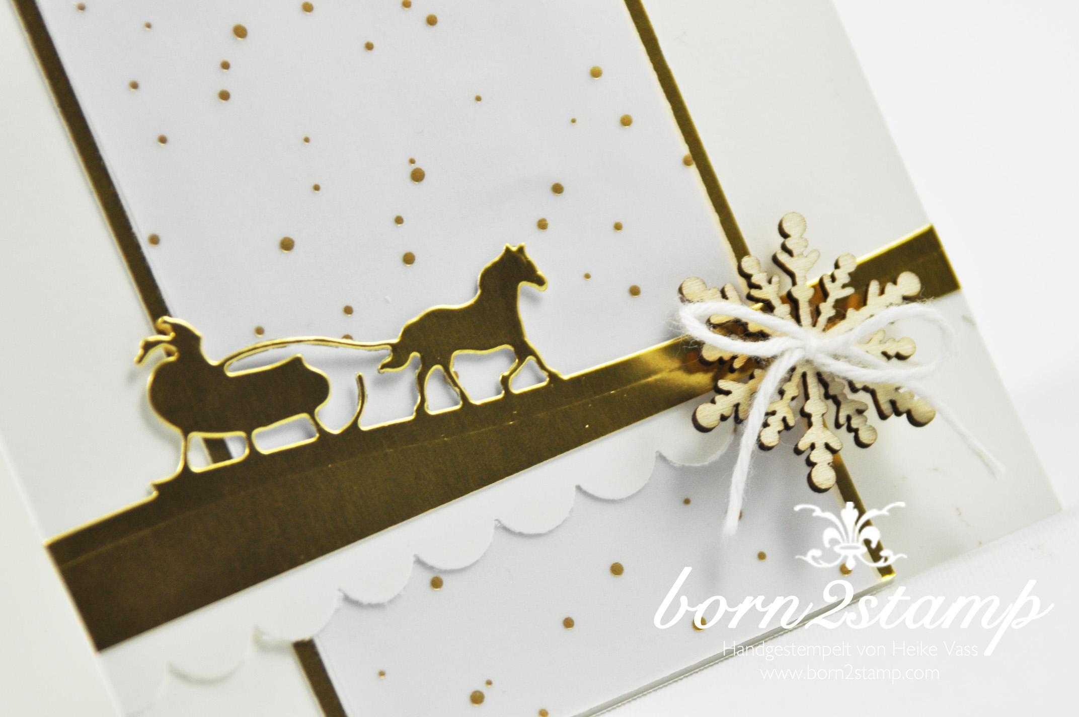 STAMPIN' UP! born2stamp Weihnachtskarte – Schlittenfahrt Sleigh ride Edgelits – DSP Winterwunderland winter wonderland – Akzente Schneeflocken – Goldfolie