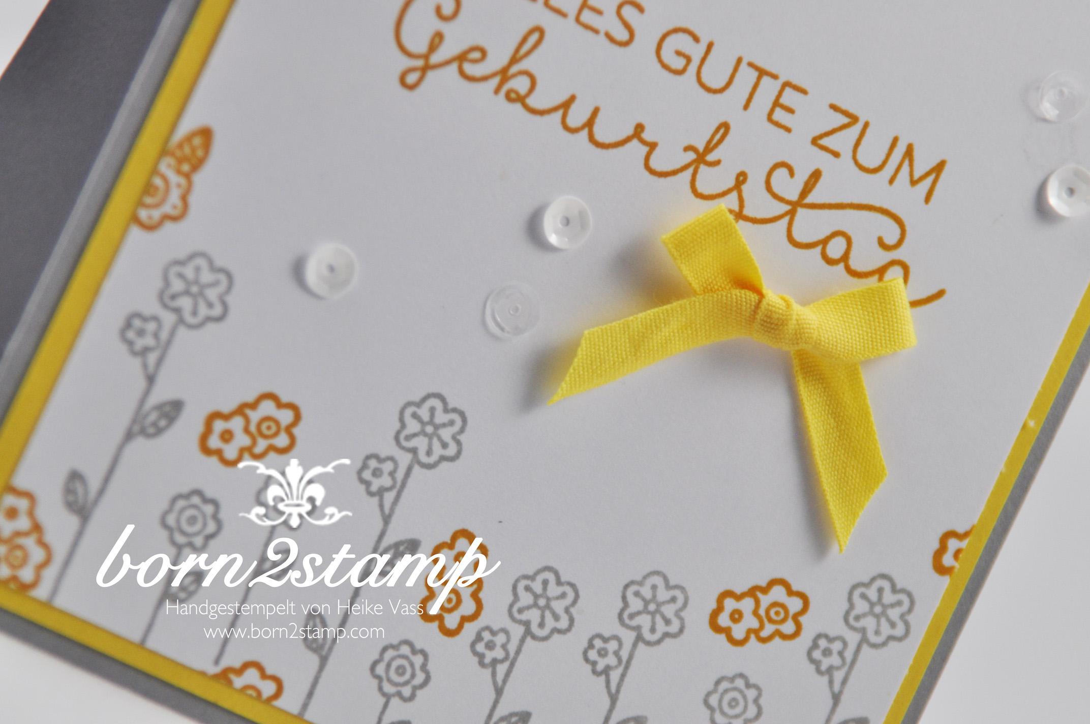 STAMPIN' UP! born2stamp Geburtstagskarte – Landlust – Baumwollband – Zierdeckchen metallisch
