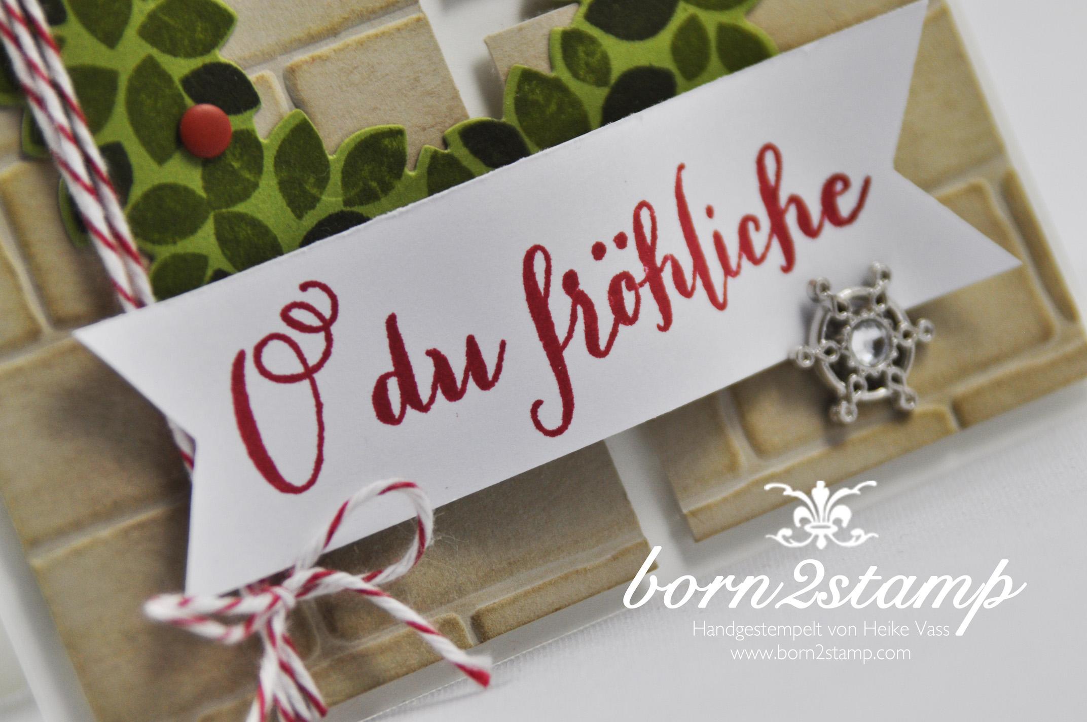 STAMPIN' UP! born2stamp Weihnachtskarte – Willkommen Weihnacht – Wondreous Wreath – Wonderful wreath Framelits – Froehliche Weihnachten – Accessoires Zauberwald