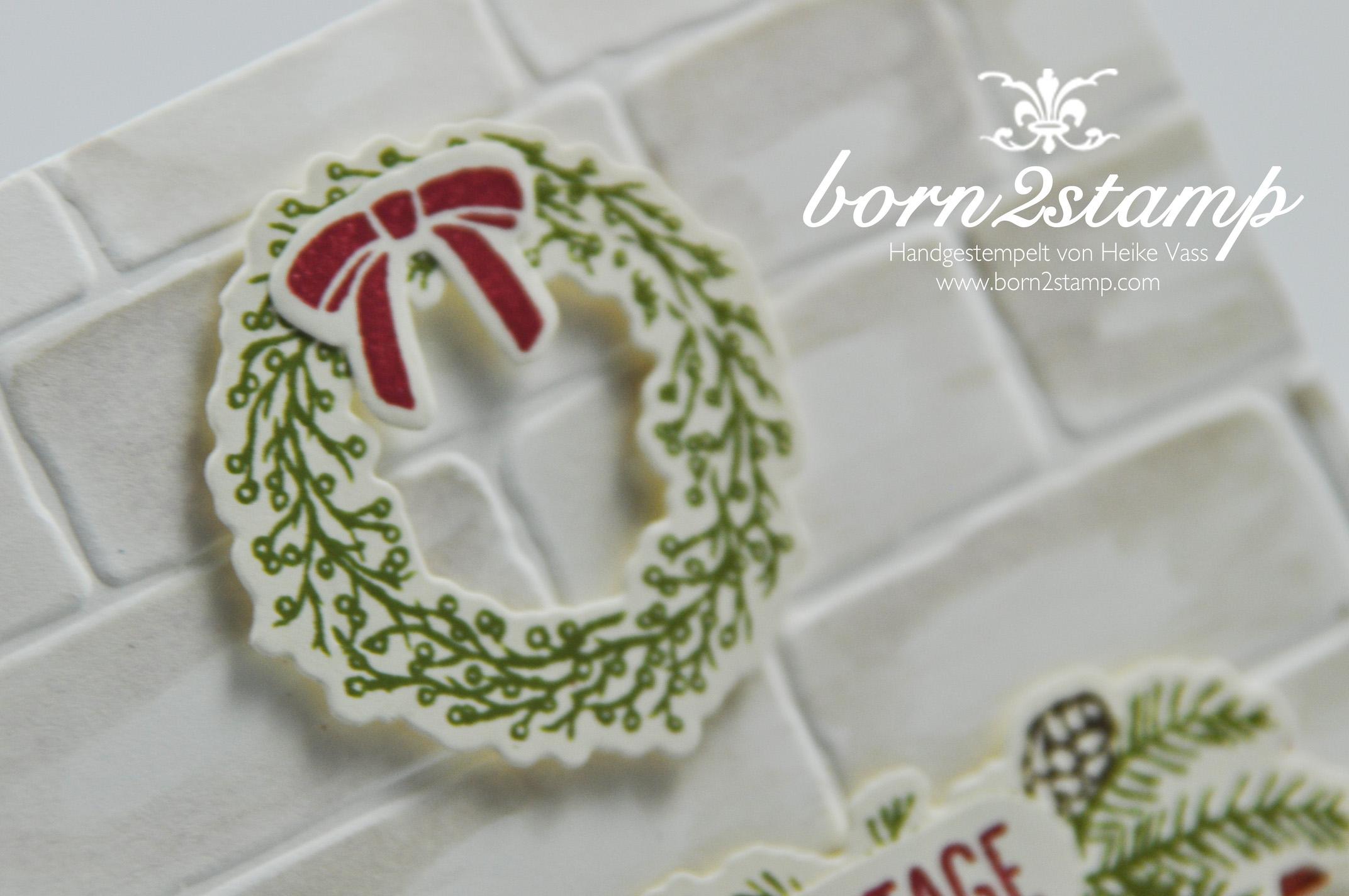 born2stamp STAMPIN' UP! Weihnachtskarte – Festive Fireplace – Framelits Am Kamin – Mischstifte – Wassertankpinsel
